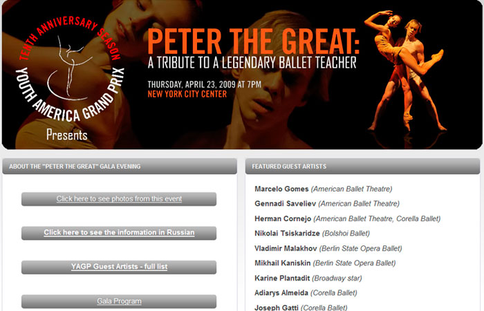PETER THE GREAT BALLET GALA SITE (2009)